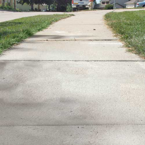 Sidewalk after leveling