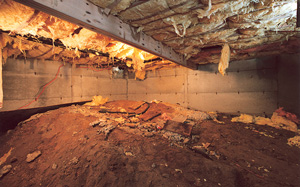Crawl Space Moisture Barrier before in Sacramento