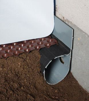 Closeup of a crawl space drainage system installed in American Canyon