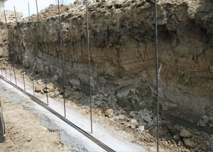 Soil layers exposed while excavating to construct a new foundation in Davis