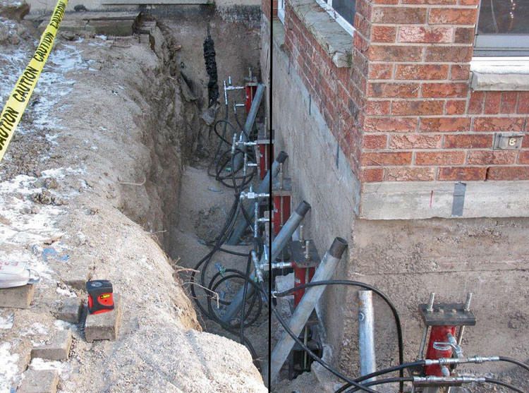 Foundation push piers installed